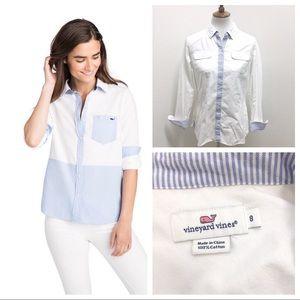 Vineyard Vines white button down shirt blue cuff M